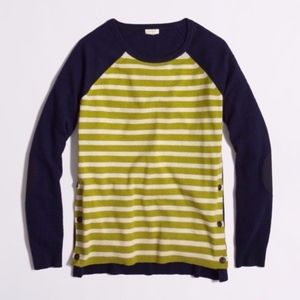 J.CREW Navy Blue Green Striped Crew WOOL Sweater